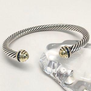 David Yurman Blue Sapphire Gold Dome Bracelet